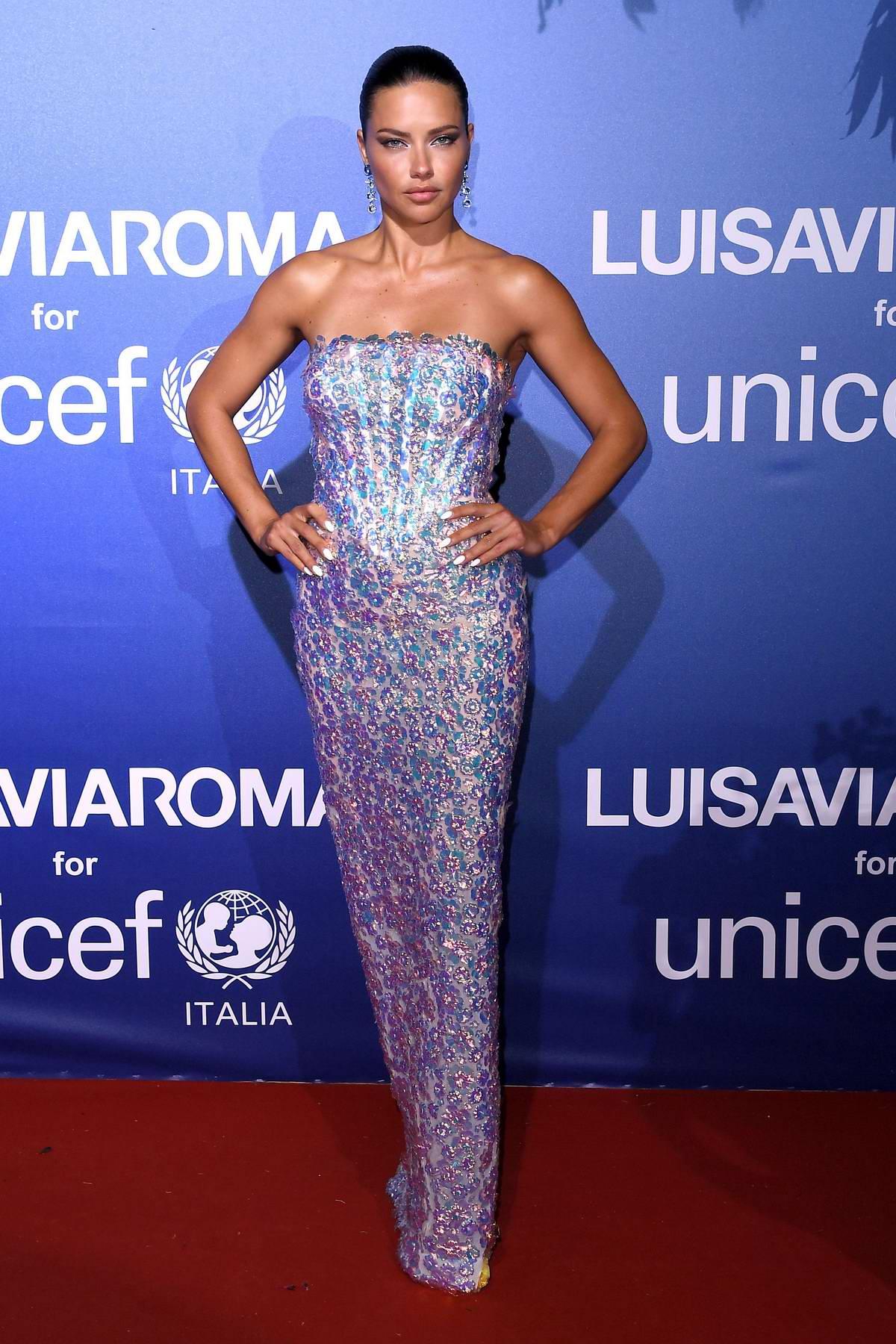 Adriana Lima attends the UNICEF Summer Gala presented by LuisaViaRoma in Sardinia, Italy