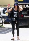 Adriana Lima wears a Puma tank top and and leggings as she leaves the gym in Miami Beach, Florida