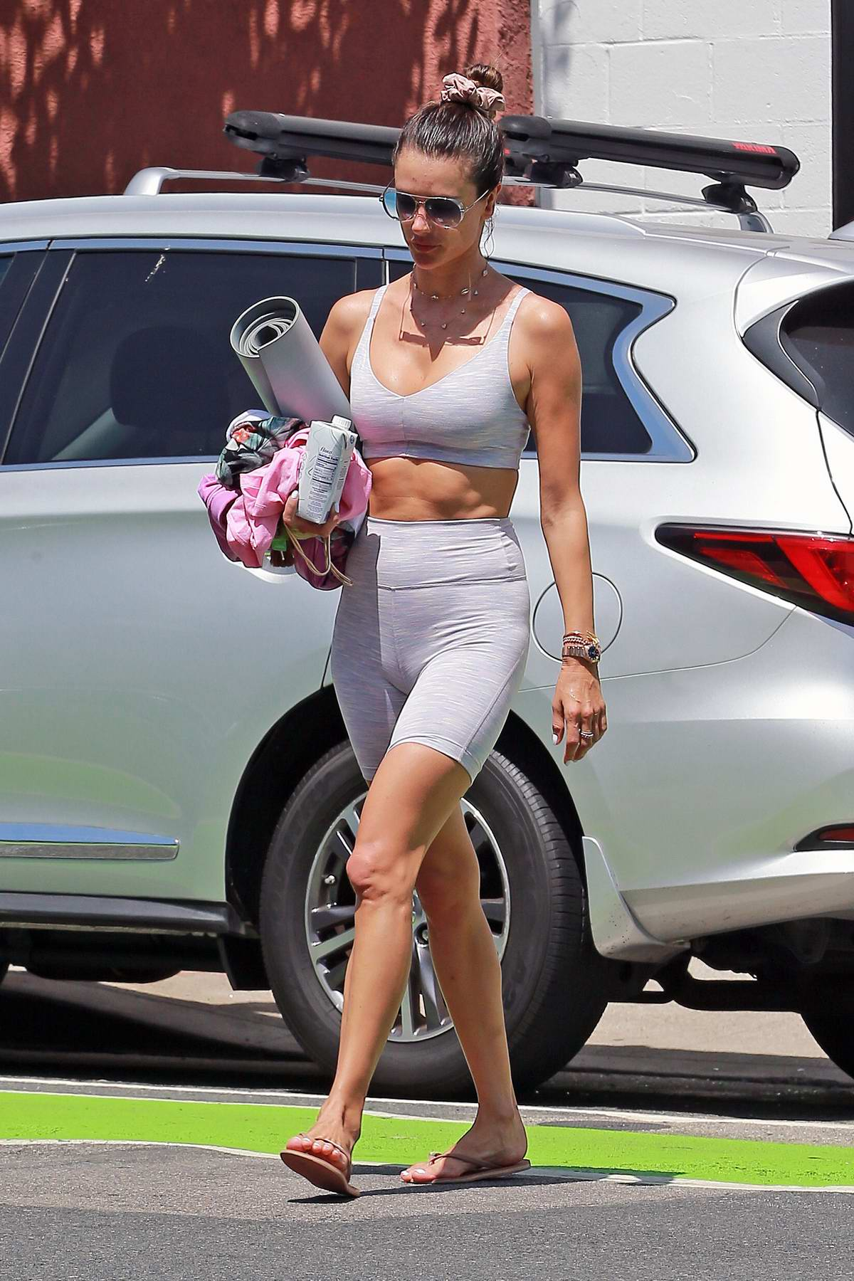 Alessandra Ambrosio displays her incredible body in tight gym outfit as she leaves after a workout in Los Angeles