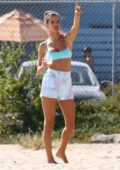 Alessandra Ambrosio enjoys a day at the beach with friends in Santa Monica, California