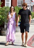 Alessandra Ambrosio looks stunning in a lavender dress as she stepped out for lunch with Nicolo Oddi in Los Angeles