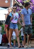 Alessandra Ambrosio rocks a Led Zeppelin vintage tee and denim shorts while out shopping with her kids and Nicolo Oddi in Malibu, California