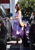 Alessandra Ambrosio wears a lavender dress for lunch at a Mexican restaurant at Brentwood Country Mart in Los Angeles