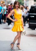 Alison Brie looks cute in a yellow dress while visiting Build Series to promote 'GLOW' Season 3 in New York City