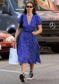 Amelia Hamlin wears a blue dress while stopping by Nail Design in Beverly Hills, Los Angeles