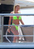 Anastasia Karanikolaou looks striking in a lime green bikini while enjoying a day on a yacht in Positano, Italy
