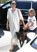 Angelina Jolie and daughter Vivienne stops by a pet store with their dog in Los Angeles