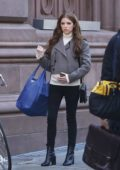 Anna Kendrick sporting a baby bump while filming her new series 'Love Life' in Astor Place in Manhattan, New York City