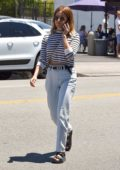 Ashley Tisdale keeps it casual in a striped top and jeans while out for lunch at California Backyard Cuisine in Los Feliz, California