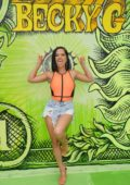 Becky G poses in front of a mural promoting her new song 'Dollar' in Miami, Florida