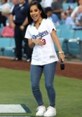 Becky G sings the National Anthem at Dodger Stadium in Los Angeles