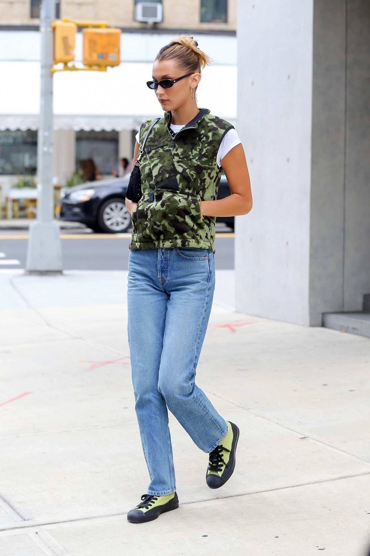 Bella Hadid keeps it casual in camo while running errands in New York City