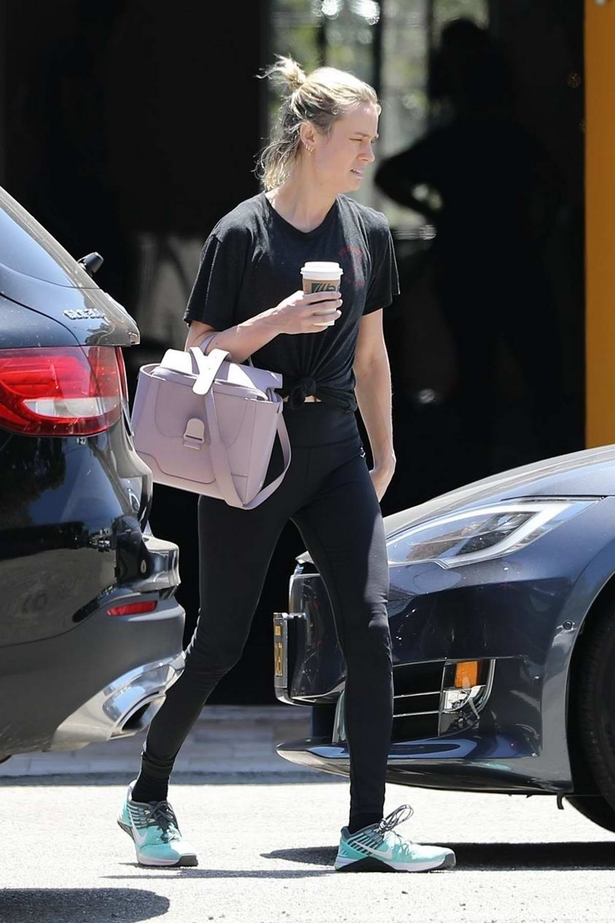 Brie Larson grabs a coffee after a workout session in Los Angeles