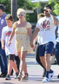 Britney Spears enjoys a day out at Disneyland with her kids and boyfriend Sam Asghari in Anaheim, California