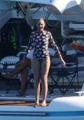 Cameron Diaz sports a floral print swimsuit while enjoying her vacation on a luxury yacht in Saint-Tropez, France