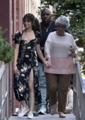 Camila Cabello seen wearing a floral black dress during a photoshoot in New York City