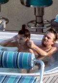 Camila Morrone and Leonardo DiCaprio have a good time in a hot tub while on vacation in Positano, Italy