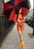 Carla Howe stepped out in an orange see-through dress in London, UK