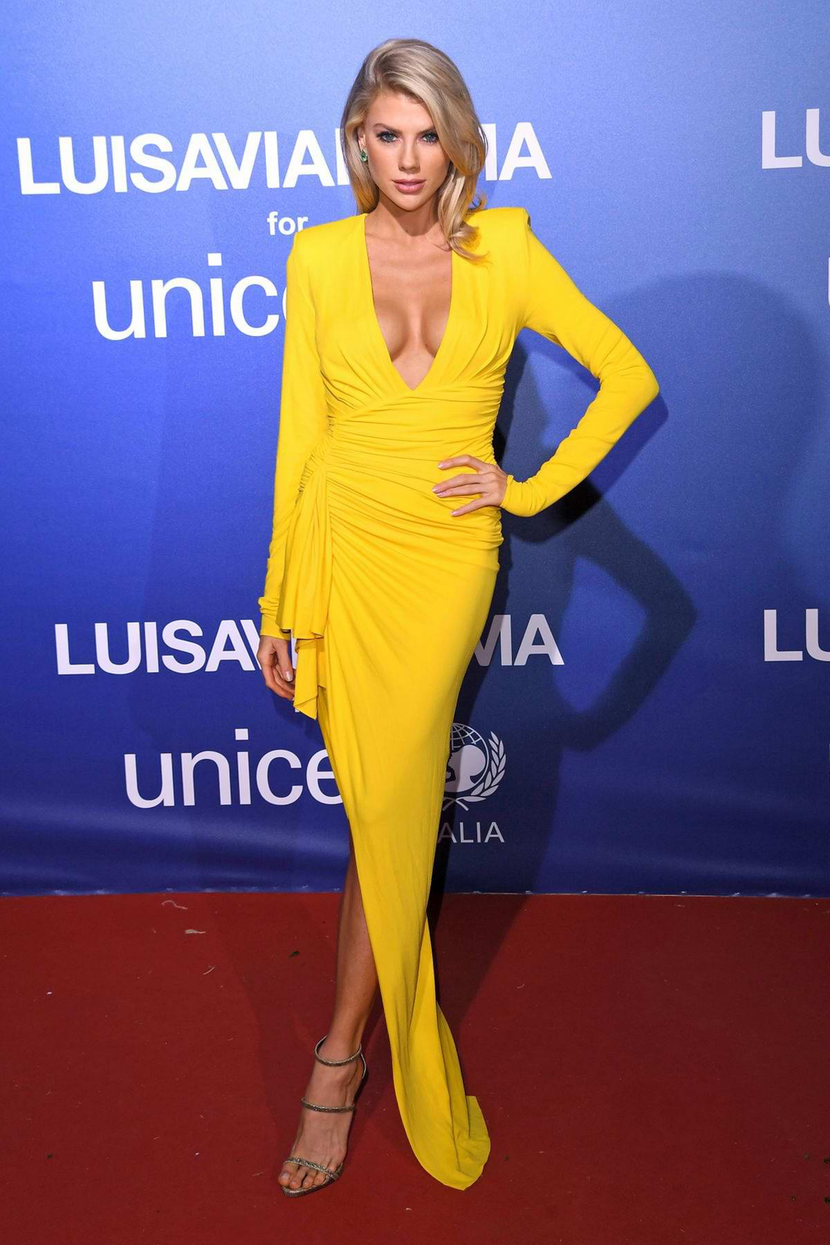 Charlotte McKinney attends the UNICEF Summer Gala Presented by LUISAVIAROMA in Sardinia, Italy