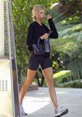 Charlotte McKinney rocked a black sweatshirt and biker shorts for brunch at The Bel-Air Hotel in Beverly Hills, Los Angeles