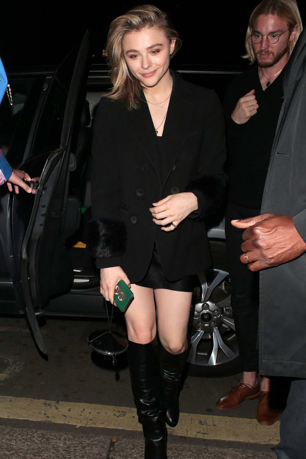 Chloe Grace Moretz dressed in all-black as she arrives at Annabel's in London, UK