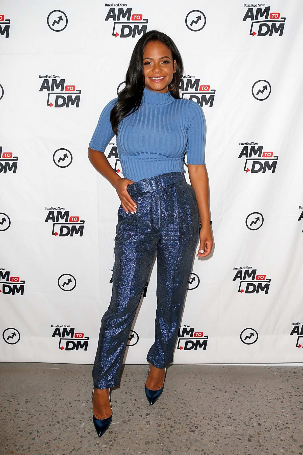 Christina Milian visits BuzzFeed's 'AM To DM' in New York City