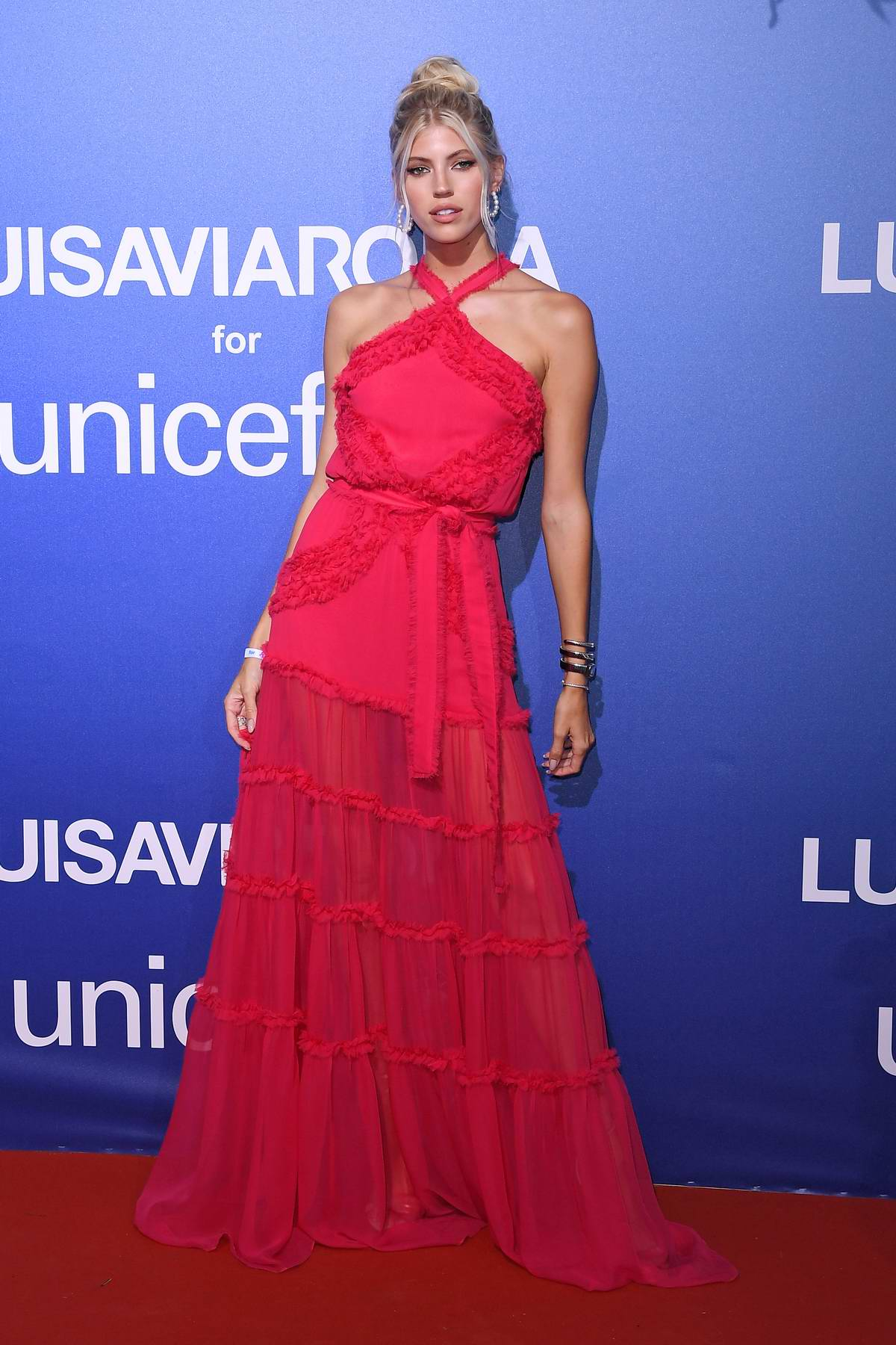 Devon Windsor attends the UNICEF Summer Gala Presented by LUISAVIAROMA in Sardinia, Italy