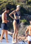 Devon Windsor dons polka dot bikini while enjoying a day on a yacht with boyfriend Johnny Dex in Sardinia, Italy