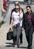 Elisabeth Moss is all smiles as she arrives for an appearance on 'Jimmy Kimmel Live' in Hollywood, California