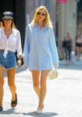 Elsa Hosk keeps it comfy in a light blue oversized Balenciaga shirt while out in New York City