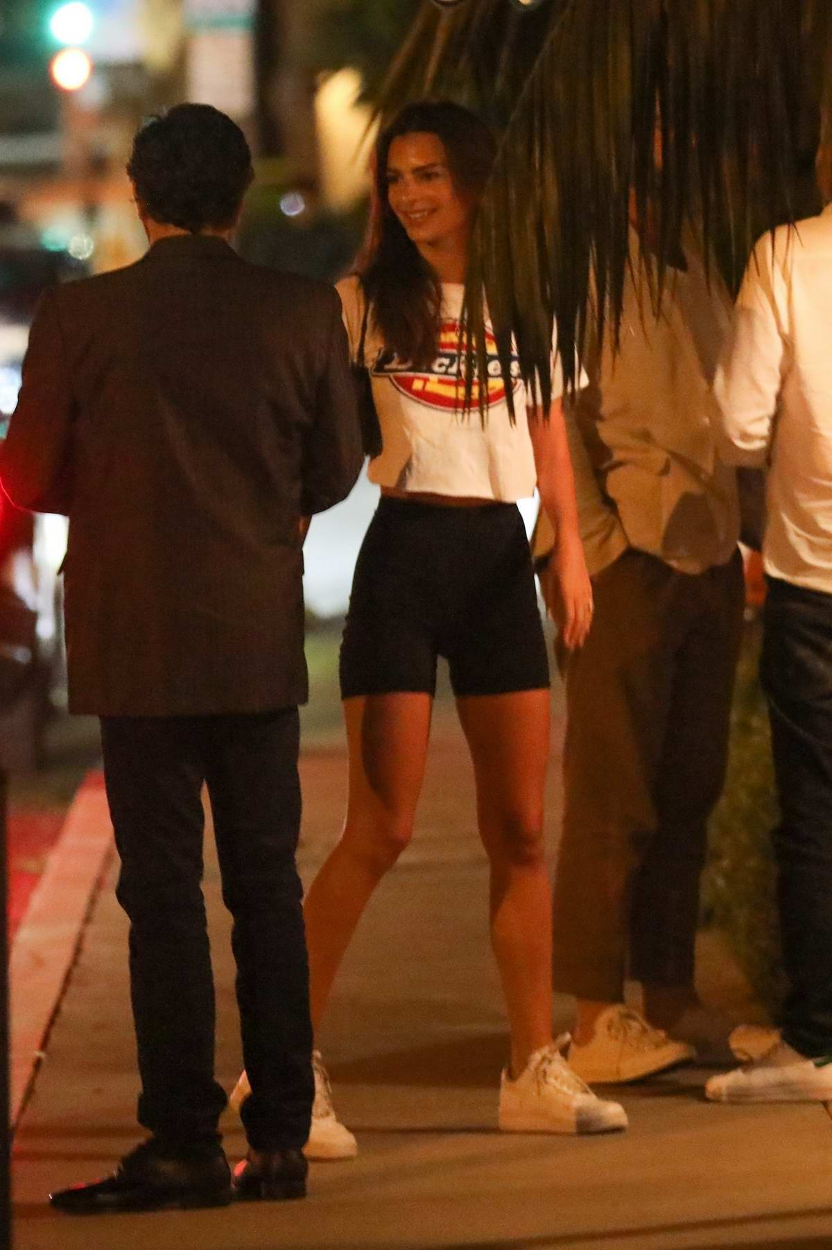 Emily Ratajkowski arrives for a party at The Bungalow in West Hollywood, Los Angeles