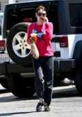 Emma Roberts dons a pink sweater as she steps out to grab an iced coffee and some snacks in Los Feliz, California