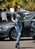 Emma Roberts grabs a coffee while out for lunch with boyfriend Garrett Hedlund in Los Angeles