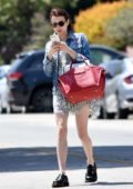 Emma Roberts looks chic in a monochrome summer dress as she stepped out for lunch in Los Feliz, California