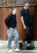 Emma Watson keeps it casual in sweats as she grabs brunch with a friend at Superba Cafe in Venice, California