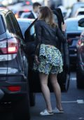 Emma Watson looks cute in a floral dress as she arrives for a party at The Bungalow in West Hollywood, Los Angeles