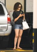 Emmy Rossum pampers herself with some Mani-Pedi at a nail salon in Beverly Hills, Los Angeles