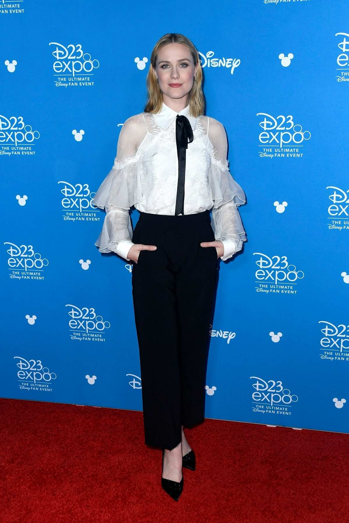 Evan Rachel Wood attends Disney D23 Expo 2019 at Anaheim Convention Center in Anaheim, California