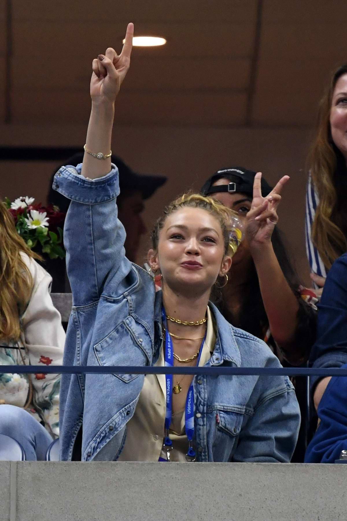 Gigi Hadid attends Serena Williams Vs Catherine McNally match during 2019 US Open at the Flushing Meadows, New York City