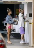 Hailey Baldwin and Justin Bieber arrive for a post-workout lunch at Soho House in West Hollywood, Los Angeles