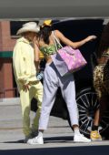 Hailey Baldwin and Kendall Jenner jet out on private plane for a girls weekend together in Van Nuys, California