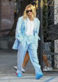 Hailey Baldwin looks stylish in patterned blue suit while visiting the Nine Zero One hair salon in West Hollywood, Los Angeles