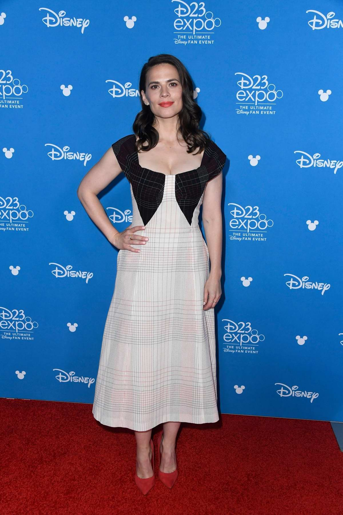 Hayley Atwell attends Disney D23 Expo 2019 at Anaheim Convention Center in Anaheim, California