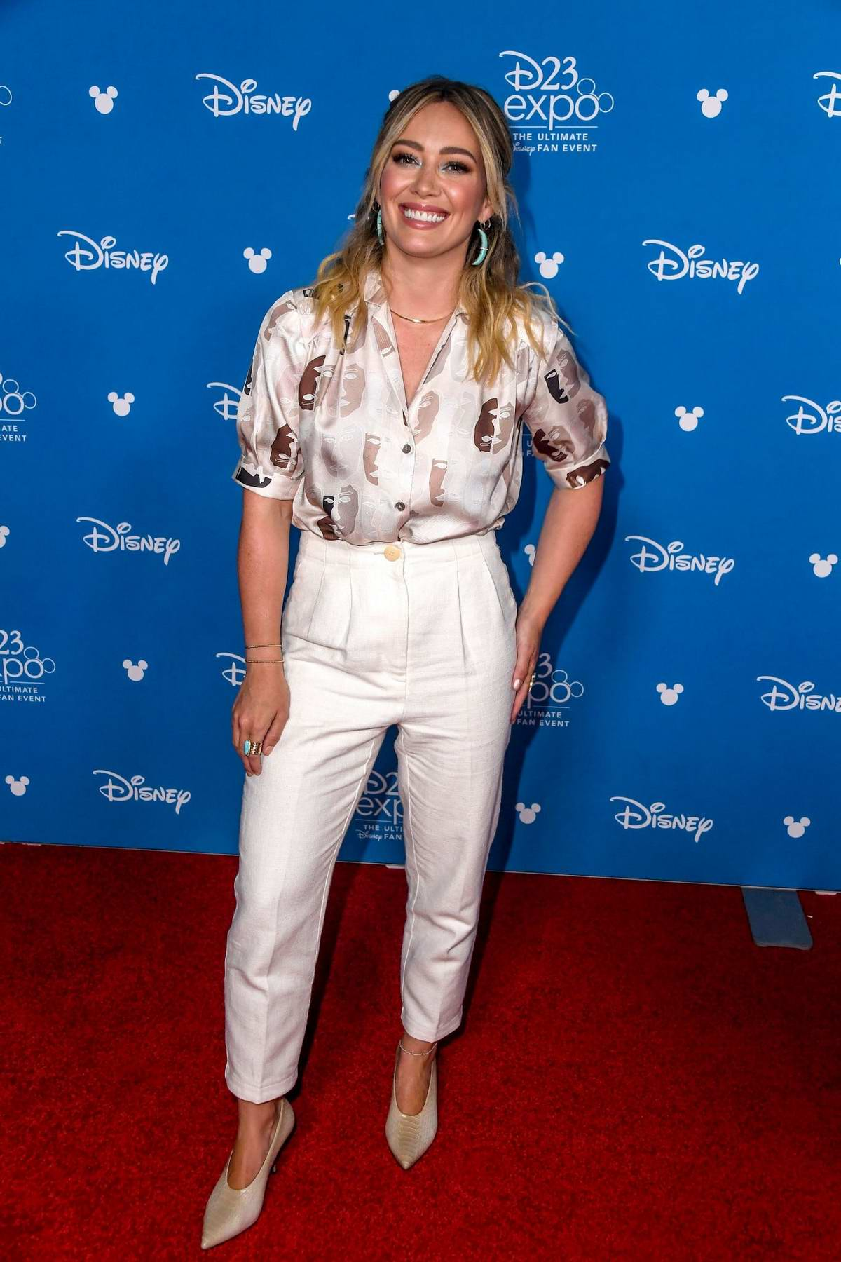 Hilary Duff attends Disney D23 Expo 2019 at Anaheim Convention Center in Anaheim, California