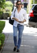 Jennifer Garner wears a white shirt and blue jeans while out for some shopping at Melrose Place in Los Angeles