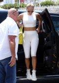 Jennifer Lopez dons all-white activewear as she heads to the gym in Miami, Florida