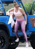 Jennifer Lopez flaunts her amazing physique in pink crop top and leggings while heading for a workout in The Hamptons, New York