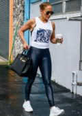 Jennifer Lopez sports tank top and dark blue leggings as she makes her way to the gym in Miami, Florida