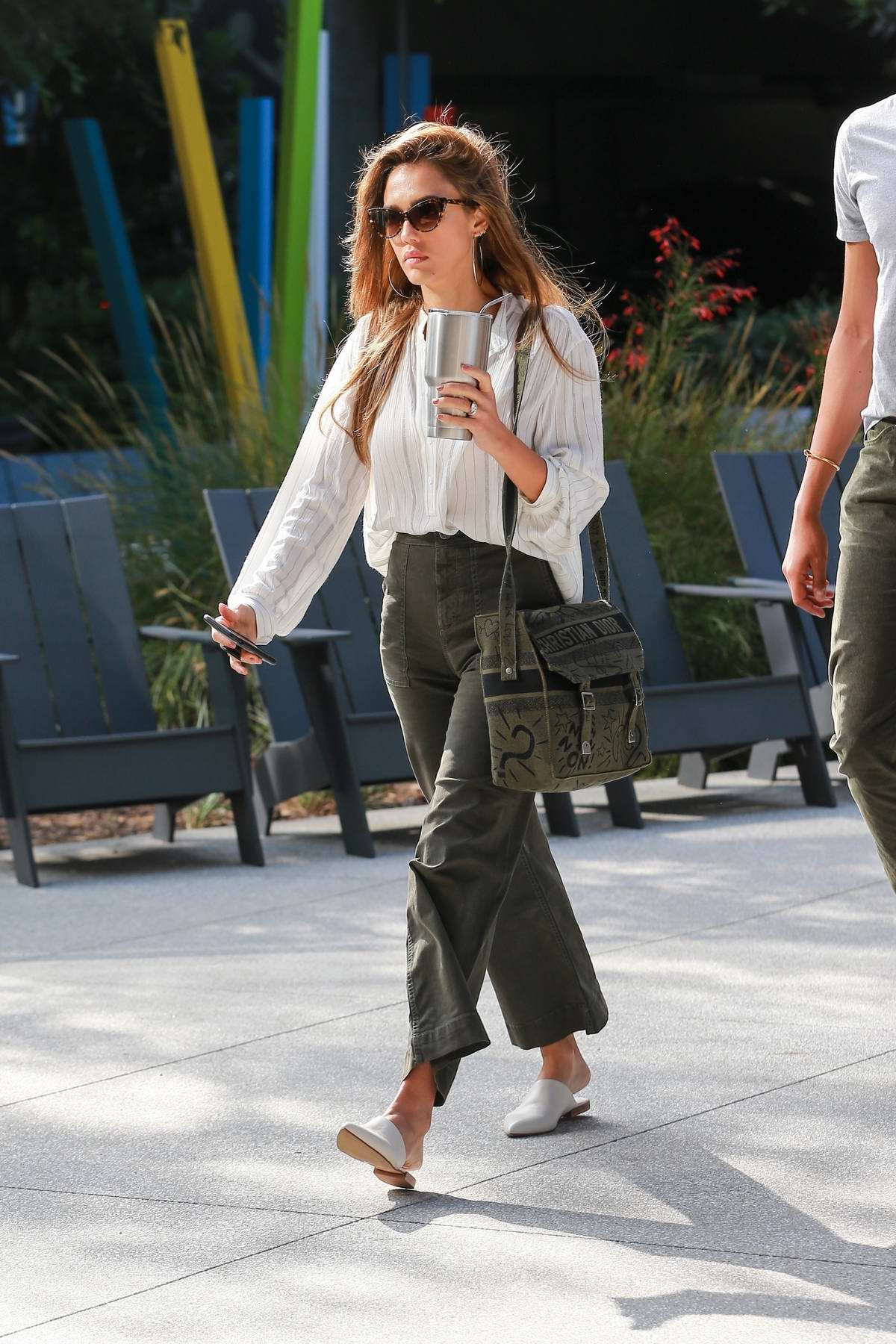 Jessica Alba dressed for business as she heads to the office in Los Angeles