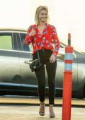 Julianne Hough looks great a bright red floral print shirt and black jeans as she heads out to dinner in Los Angeles